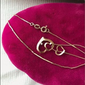 Vintage 10k Solid Yellow Gold 3 Heart Choker